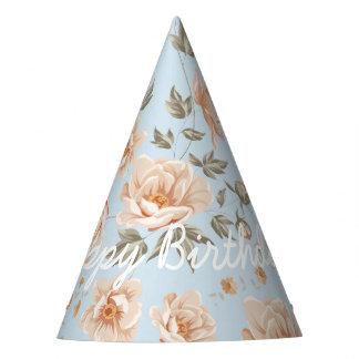 Elegant Happy Birthday in Shabby Chic Roses Party Hat