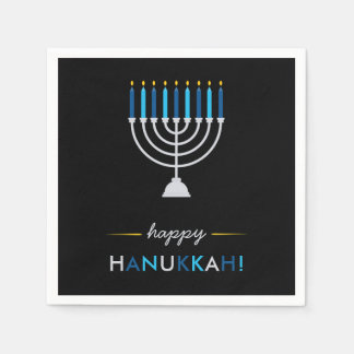 Elegant Happy Hanukkah Black with Silver Menorah Napkin