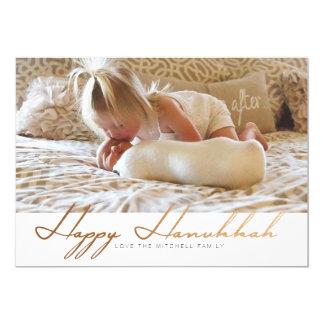 Elegant Happy Hanukkah | Rose Gold Photo Card