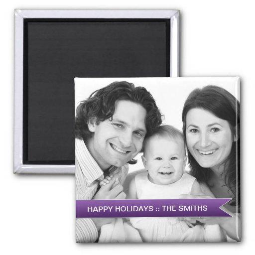 Elegant Happy Holidays Purple Ribbon Family Photo Refrigerator Magnet
