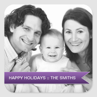Elegant Happy Holidays Purple Ribbon Family Photo Square Sticker