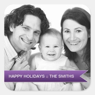 Elegant Happy Holidays Purple Ribbon Family Photo Stickers