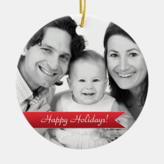 Elegant Happy Holidays Red Ribbon Family Photo Double-Sided Ceramic Round Christmas Ornament