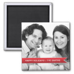 Elegant Happy Holidays Red Ribbon Family Photo 2 Inch Square Magnet