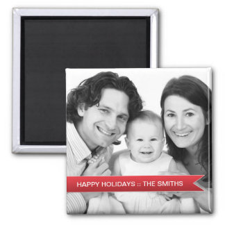 Elegant Happy Holidays Red Ribbon Family Photo Magnet