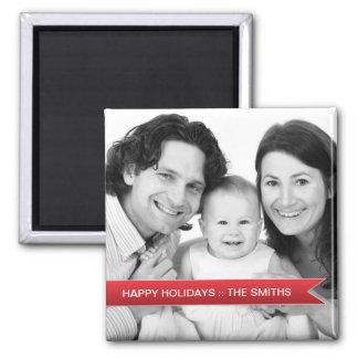 Elegant Happy Holidays Red Ribbon Family Photo Refrigerator Magnet