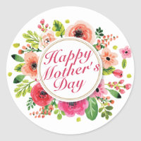 Elegant Happy Mother's Day Floral Frame Sticker