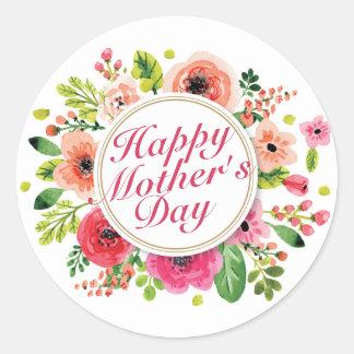 Elegant Happy Mother's Day Floral Frame Sticker