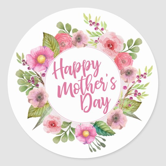 elegant happy mother 39 s day floral sticker. Black Bedroom Furniture Sets. Home Design Ideas