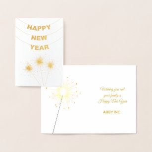 elegant happy new year corporate gold foil card