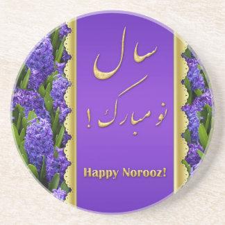 Elegant Happy Norooz Hyacinths - Sandstone Coaster
