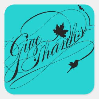 Elegant Happy Thanksgiving - Give Thanks Label