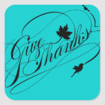 Elegant Happy Thanksgiving - Give Thanks Label Square Stickers