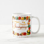 Elegant Happy Thanksgiving Greetings Classic White Coffee Mug