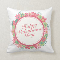 Elegant Happy Valentine's Day Floral Frame Pillow