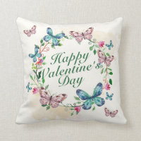 Elegant Happy Valentine's Day Floral Wreath Pillow