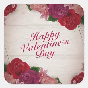 Happy Valentine Day Red Roses Stickers Sticker Designs Zazzle