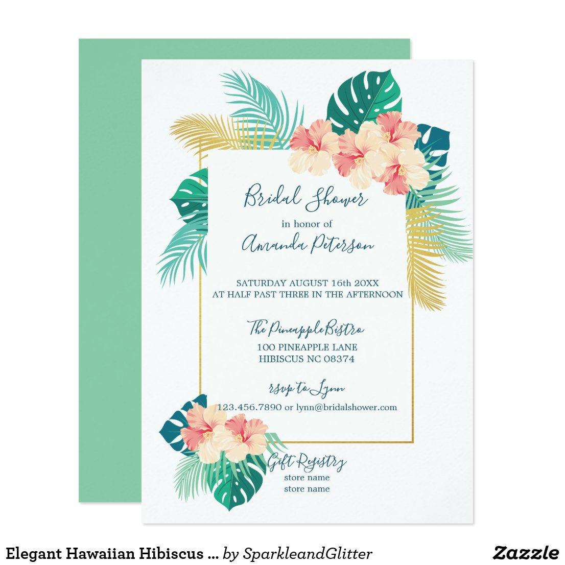 Elegant Hawaiian Hibiscus Bridal Shower Invitation