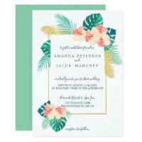 Elegant Hawaiian Hibiscus Wedding Invitations