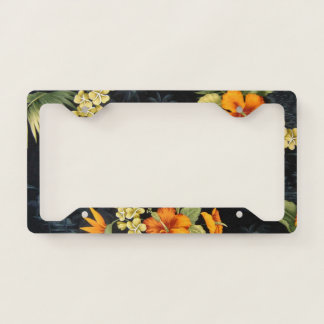 Elegant Hawaiian Orange Hibiscus Flower Pattern License Plate Frame