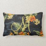 Elegant Hawaiian Orange Hibiscus Flower Pattern Pillow