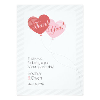 "Elegant Heart Balloons 5.5"" x 7.5"" Thank You Card"