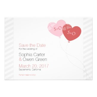 Elegant Heart Balloons Wedding Save The Date Personalized Announcement