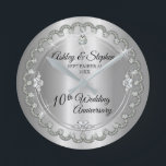 """Elegant Heart Diamonds 10th Wedding Anniversary Round Clock<br><div class=""""desc"""">Opulent elegance frames this 10th wedding anniversary design in a unique scalloped diamond design with center teardrop diamond with faux added sparkles on a tin colored gradient. Original design by Holiday Hearts Designs (rights reserved). Please note that all embellishments are printed and are only made to appear as real as...</div>"""