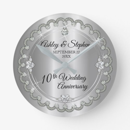 Elegant Heart Diamonds 10th Wedding Anniversary Round Clock