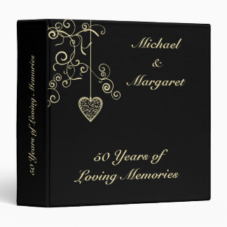 Elegant Heart Golden Wedding Anniversary 3 Ring Binder
