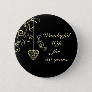 Elegant Heart Golden Wedding Anniversary Button