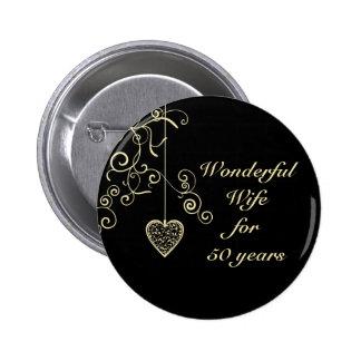 Elegant Heart Golden Wedding Anniversary Pins