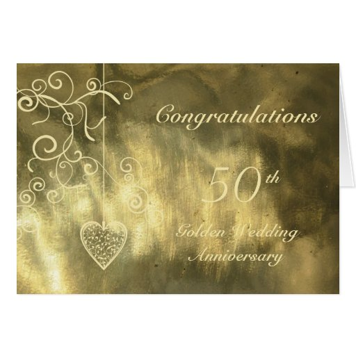 Golden Wedding Anniversary Gift Experiences : Elegant Heart Golden Wedding Anniversary Card Zazzle