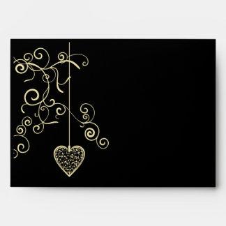 Elegant Heart Golden Wedding Anniversary Envelope