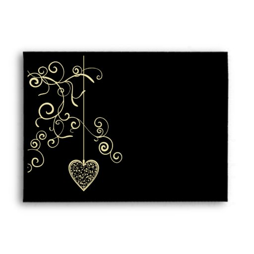 Elegant Heart Golden Wedding Anniversary Envelopes