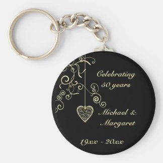 Elegant Heart Golden Wedding Anniversary Keychain