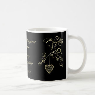 Elegant Heart Golden Wedding Anniversary Memento Coffee Mug