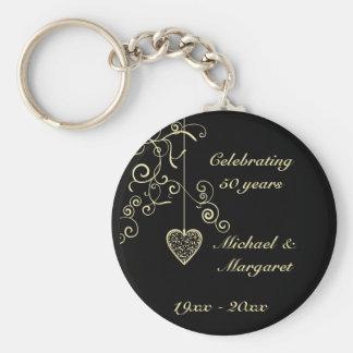 Elegant Heart Golden Wedding Anniversary Memento Basic Round Button Keychain