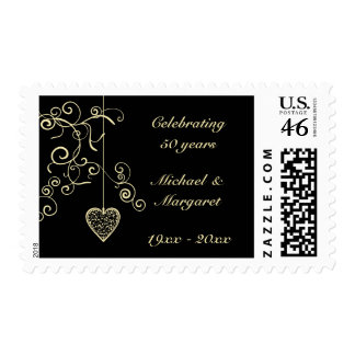 Elegant Heart Golden Wedding Anniversary Stamp
