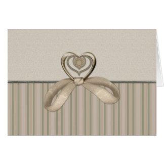 Elegant Heart Striped Earth Tone Card