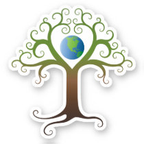 Elegant heart tree with planet earth sticker