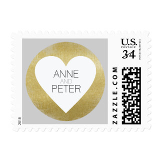 elegant heart with names, wedding love postage