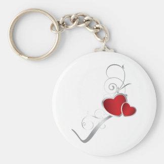 elegant hearts and silver swirls basic round button keychain