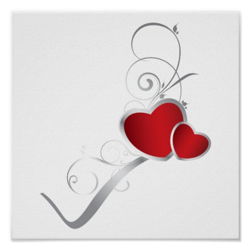 elegant hearts and silver swirls poster