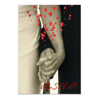 elegant hearts B&W vintage couple holding hands Custom Announcement