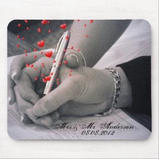 elegant hearts black white hands vintage wedding mouse pad