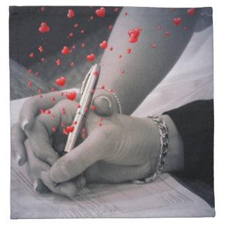 elegant hearts black white hands vintage wedding printed napkins