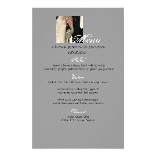 elegant hearts black white vintage wedding Menu Stationery Paper