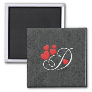 Elegant hearts letter D Fridge Magnet