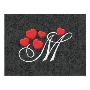 Elegant Hearts Letter M Postcard